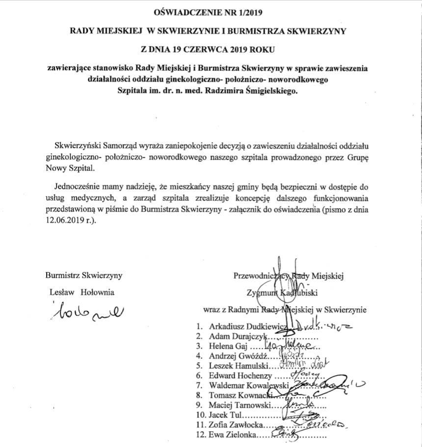 Oświadczenie Rady Miejskiej i Burmistrza Skwierzyny w sprawie zawiesze…